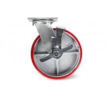 Колесо большегрузн. поворотн. PU тормоз (SCpb 55) 125мм